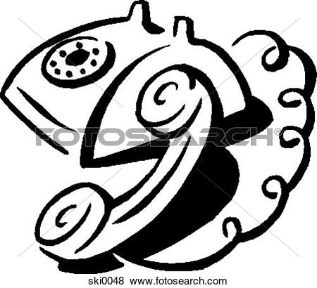Stock Illustration of rotary dial phone b&w ski0048.