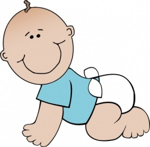 Baby wearing diapers clipart.