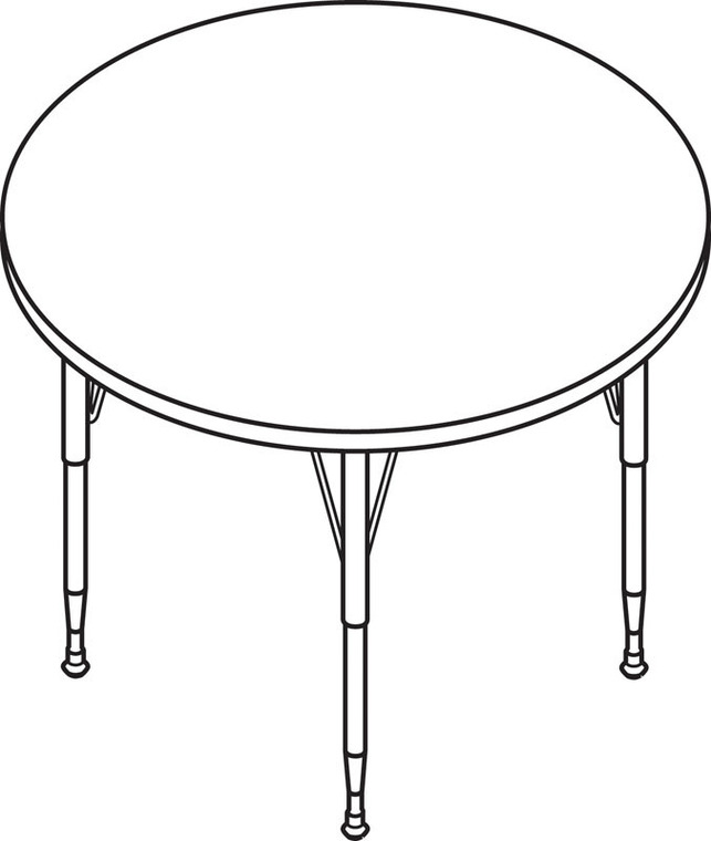 HON Round Activity Table With Long Chrome Legs 48in Diameter.