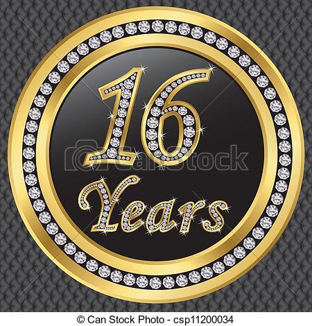 16 years anniversary golden icon with diamonds, vector illustration.