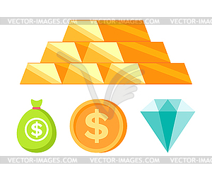 Money and Coins, Bullion and Diamond, Bank.
