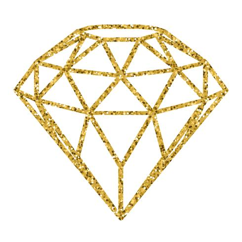 Geometrical golden glitter diamond isolated on white.