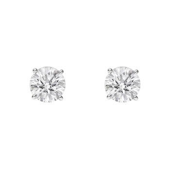 Estate Betteridge Round Brilliant Diamond Stud Earrings.