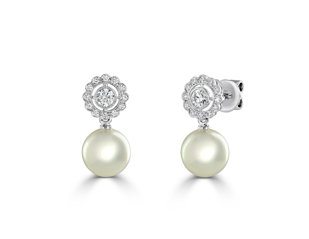 Akoya Pearl and Diamond Earrings.