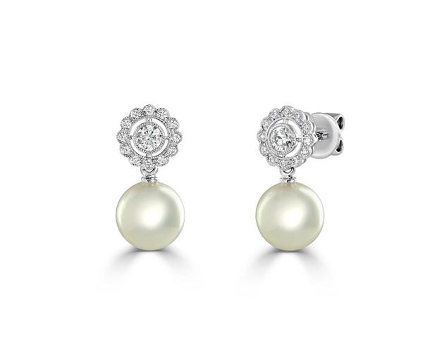 Akoya Pearl and Diamond Earrings.
