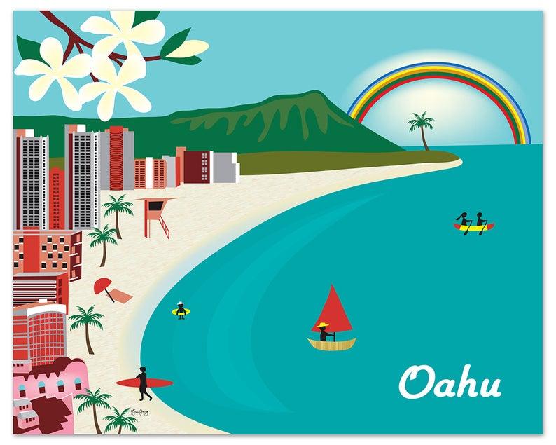 Honolulu Print, Honolulu Hawaii Skyline, Diamond Head Print, Waikiki Beach  Print, Honolulu Wall Art, Oahu Art Wedding, Oahu Art E8.