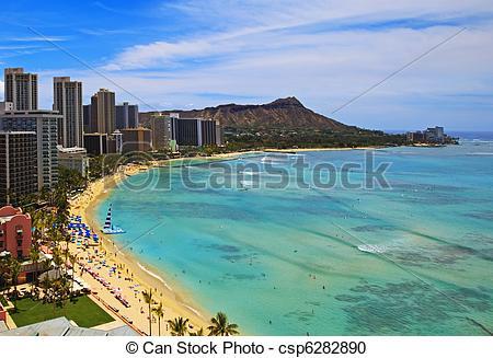 Stock Photography of Waikiki Beach, Diamond Head onOahu,.
