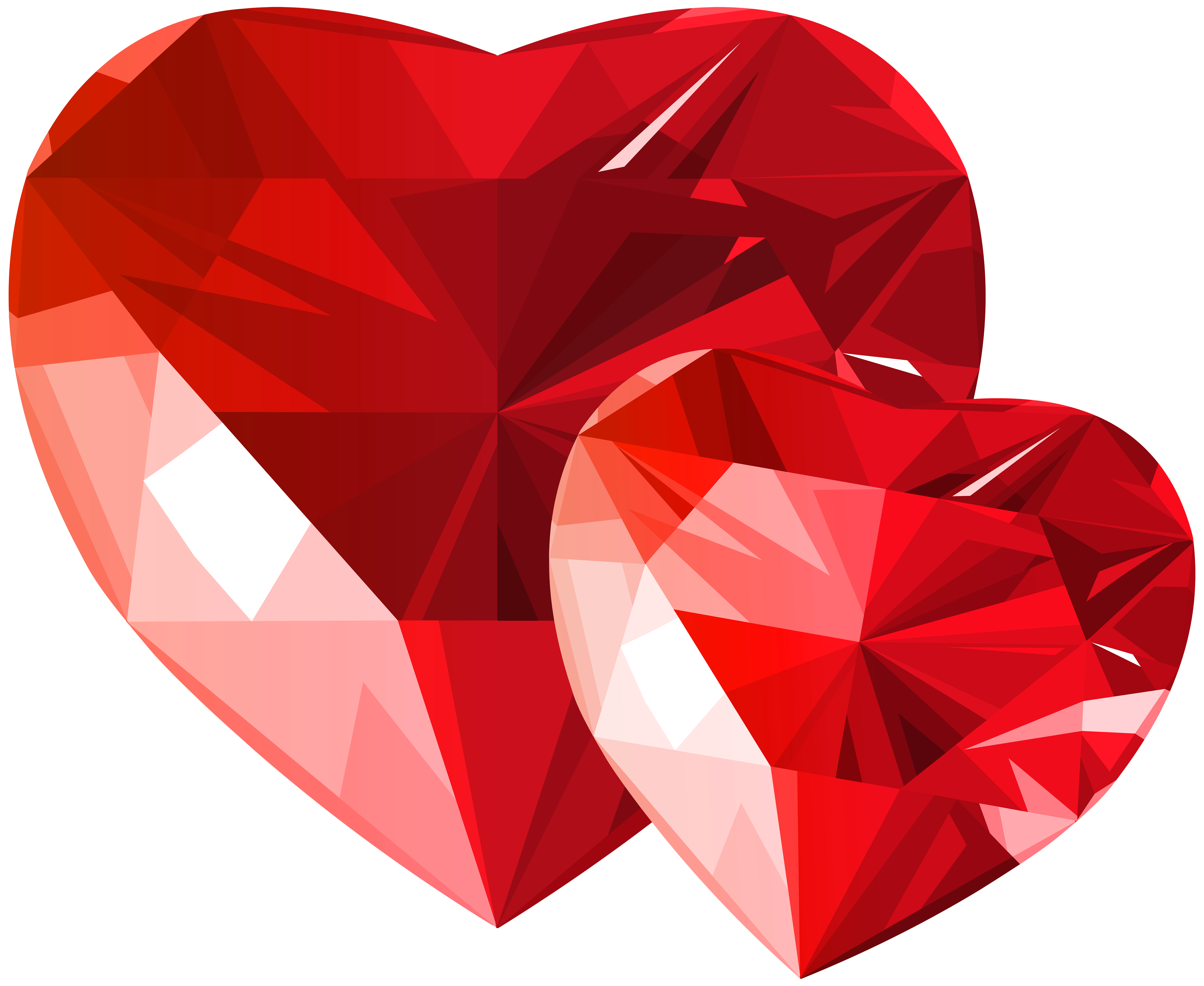 Diamond Hearts Red Transparent PNG Clip Art.