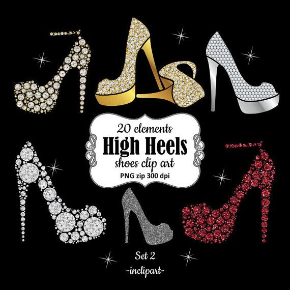 Shoe clipart. Ladies, girls, bridal high heels clipart.
