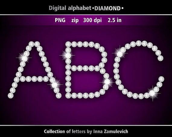 Diamond letters clipart. Digital download PNG. Digital rhinestone.