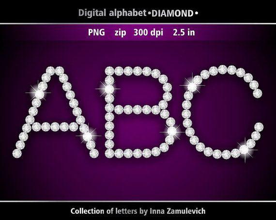 Diamond letters clipart. Digital download PNG. Digital rhinestone.