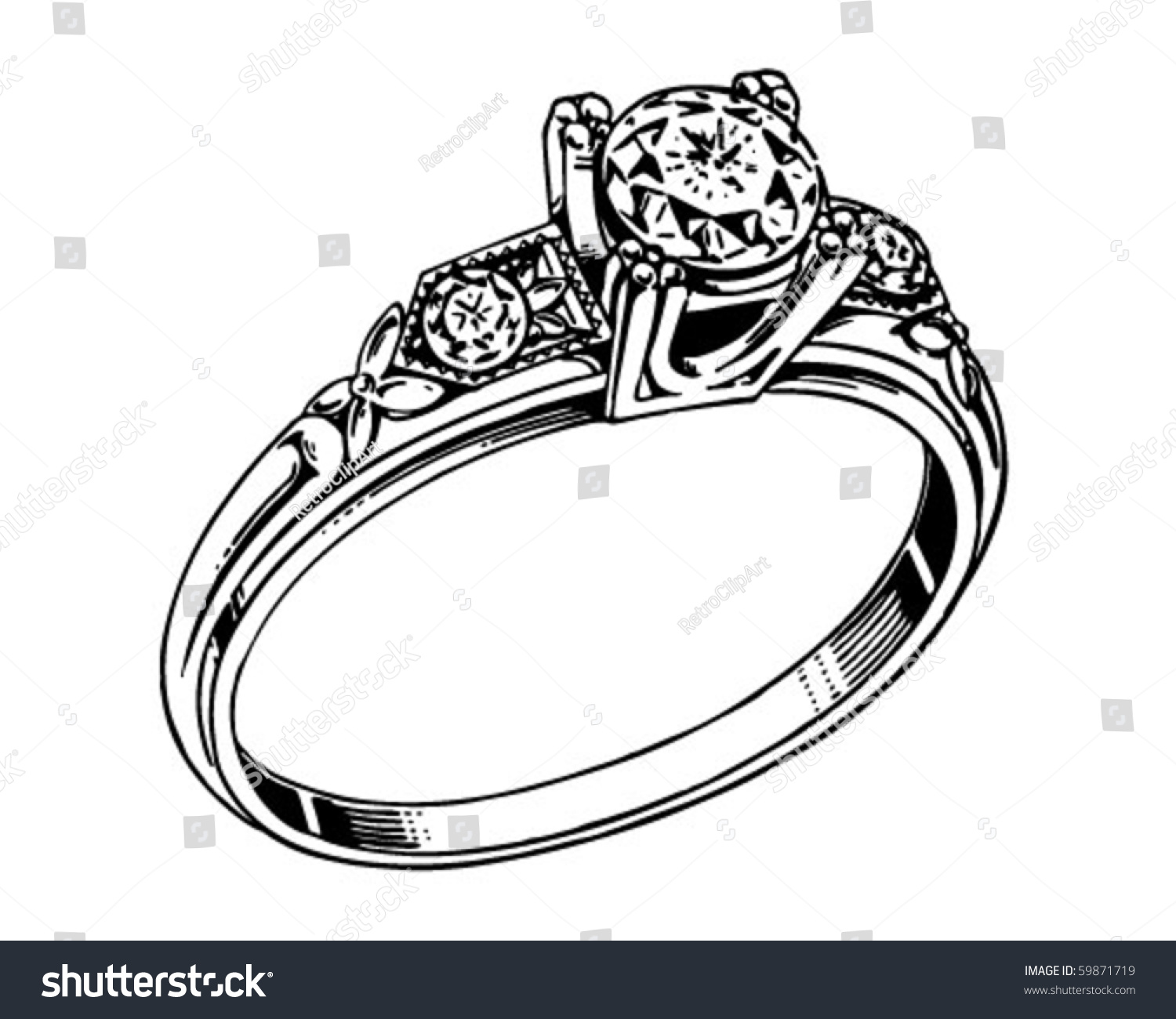 Diamond Ring 2 Retro Clip Art Stock Vector (Royalty Free) 59871719.