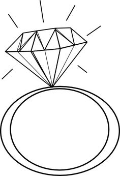 Diamond ring pattern. Use the printable outline for crafts.