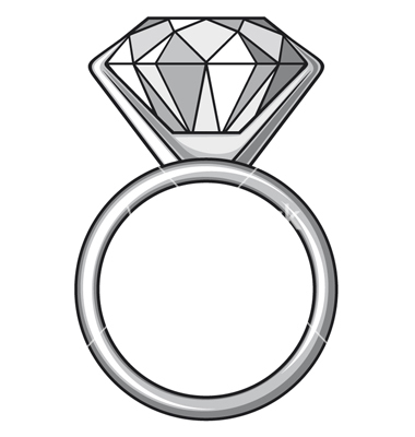 10835 Diamond Ring Clipart Black And White Diamond Ring Clipart.