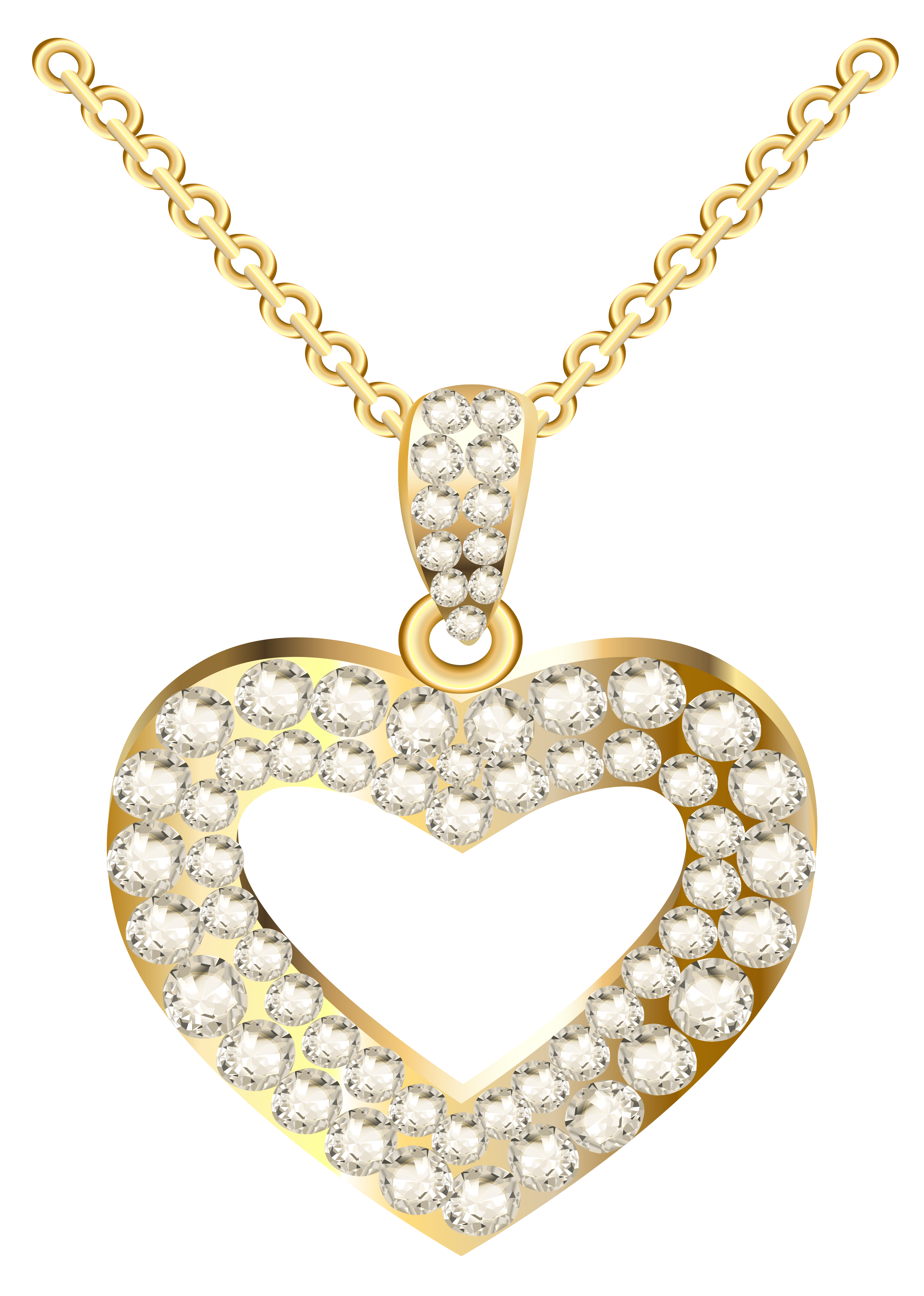 Golden Heart Necklace with Diamonds PNG Clipart.
