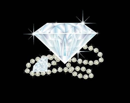 illustration of two big diamonds and a pearl necklace.