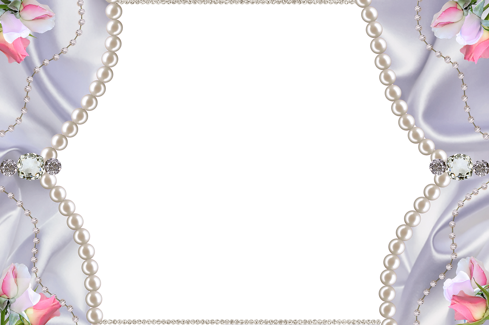 Delicate PNG Photo Frame with Pearls Diamonds and Roses.