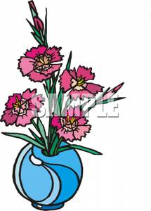 Dianthus Flowers In a Blue Vase.