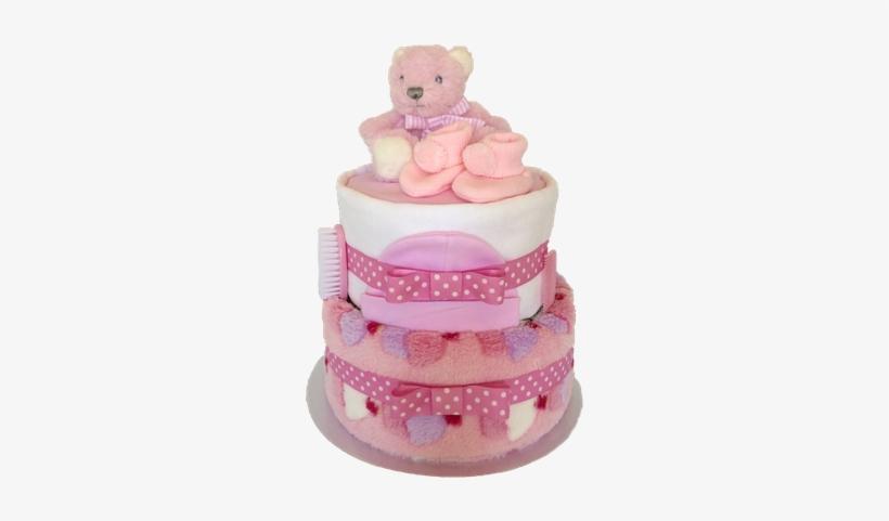 Pink Cupcake 2 Tier Nappy Cake.