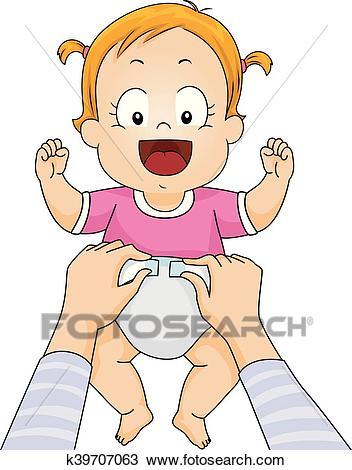 Kid Baby Girl Mom Change Diaper Clipart.
