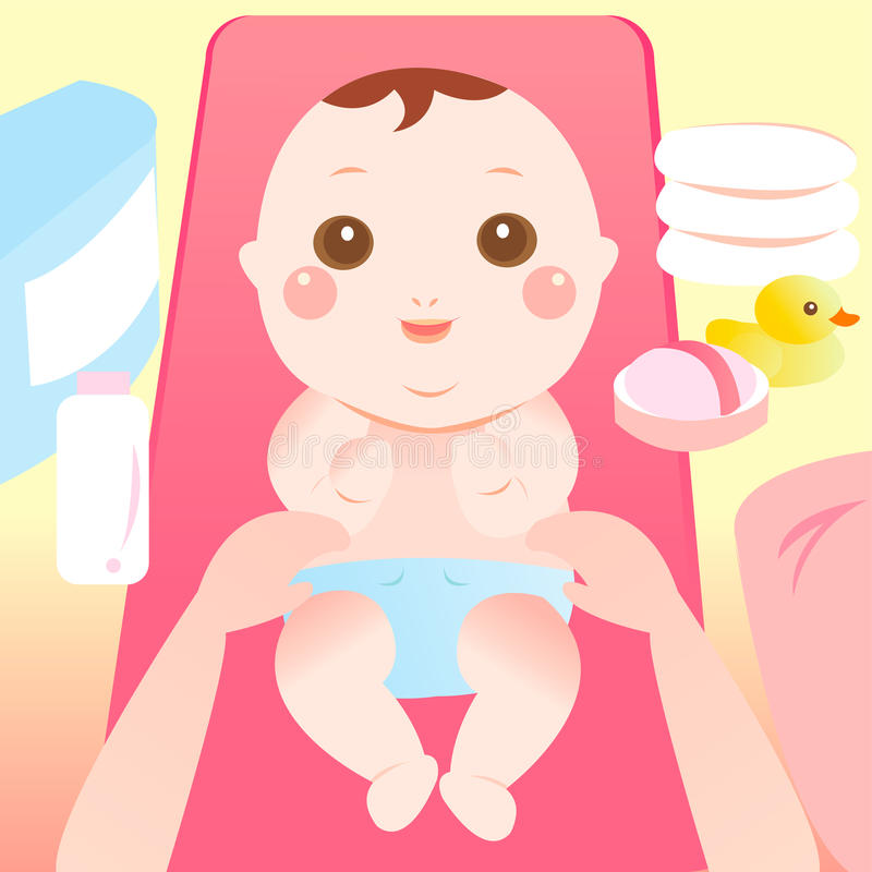 Changing Diaper Stock Illustrations.
