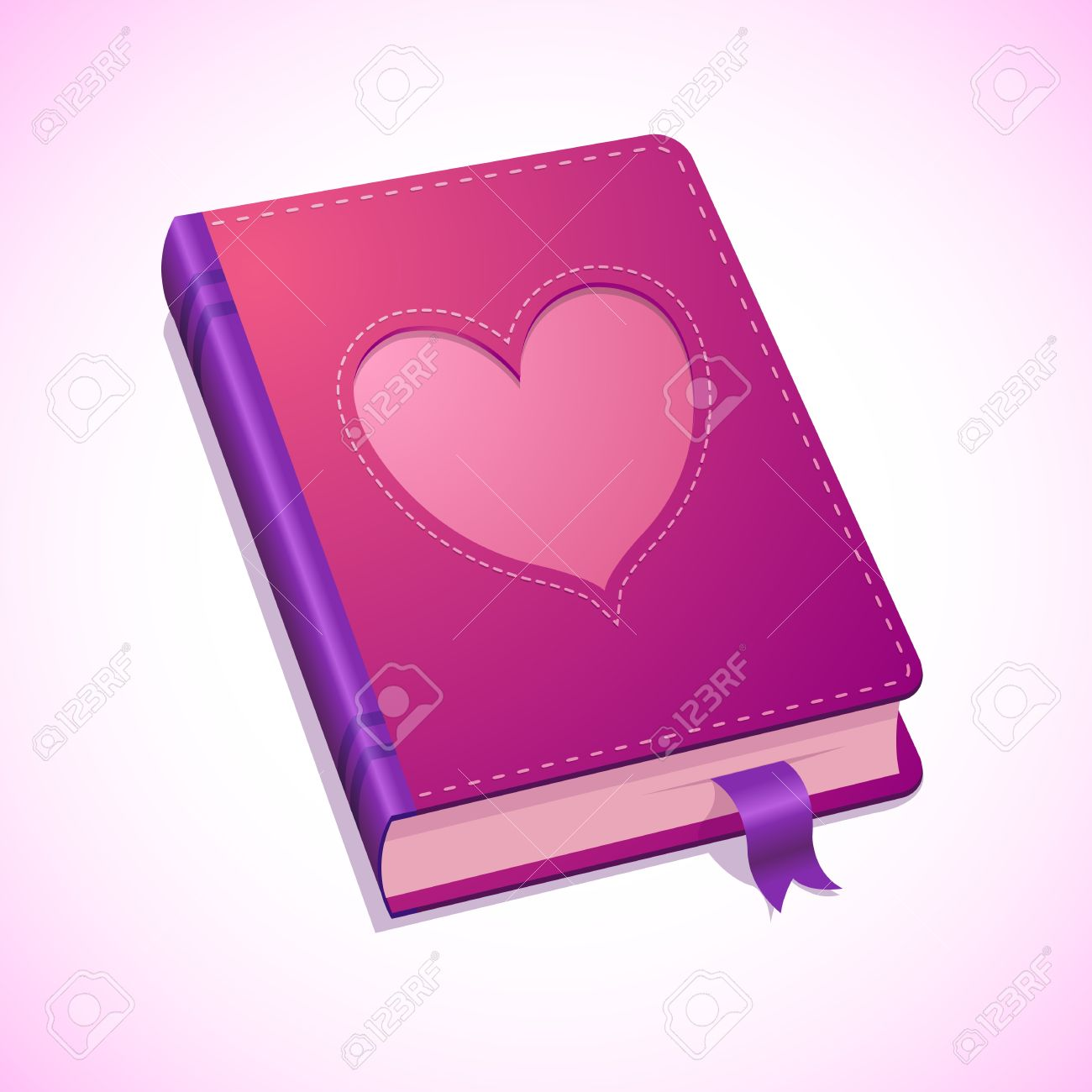 Illustration Of Pink Diary, With Heart For Valentines Day Royalty.