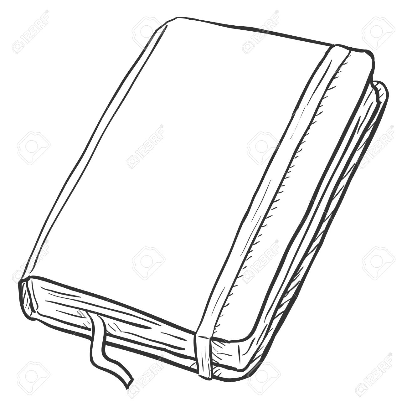 Vector Single Sketch Diary on White Background.