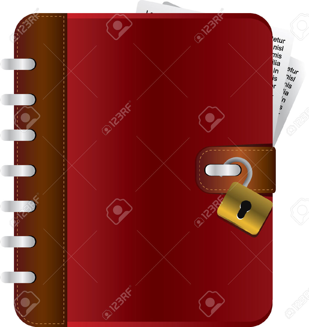 Red Diary With An Opened Lock Royalty Free Cliparts, Vectors, And.