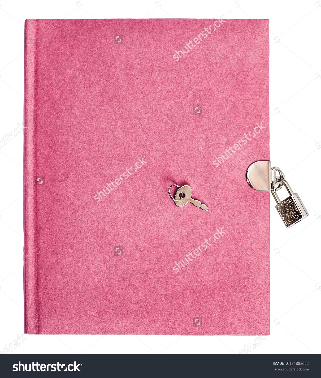 Pink Diary Book Lock Key Isolated Stock Photo 131883062.
