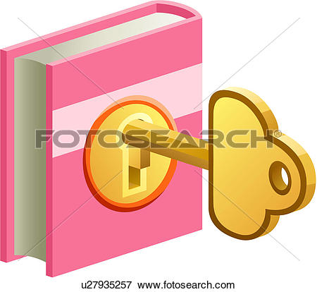 Clip Art of knowledge, key, opening, lock, diary, book u27935257.