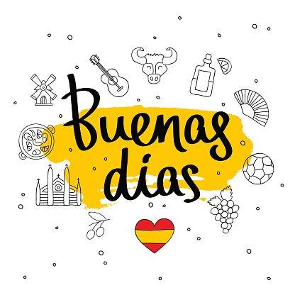 Buenas dias. Fashionable calligraphy. Clipart Image.
