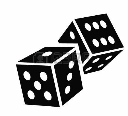 Two Black Dice Cubes On White Background. #111152.