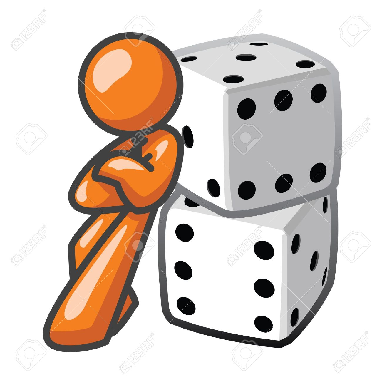 Orange Man Leaning Against Dice, Confident. Royalty Free Cliparts.