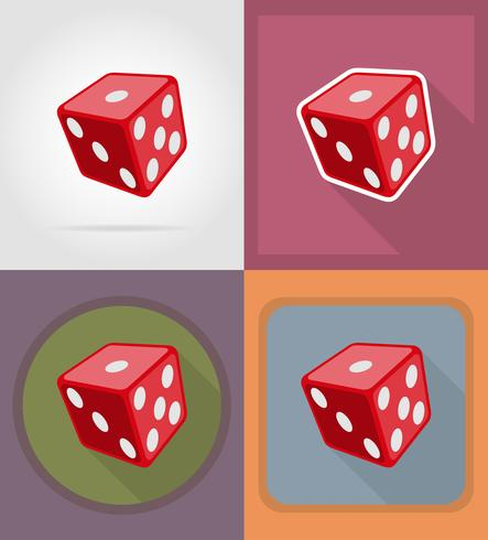 cube dice casino flat icons vector illustration.