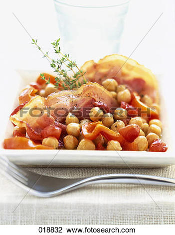 Stock Photo of Chickpeas cooked with diced bacon and peppers.