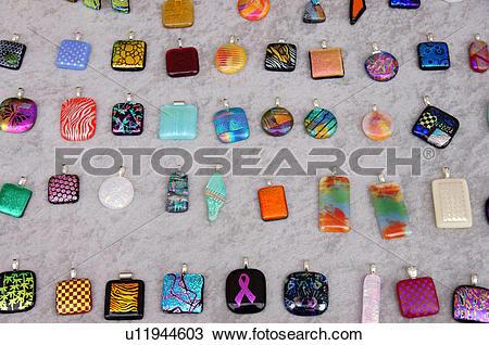 Stock Photo of santa fe nm display dichroic glass pendants.