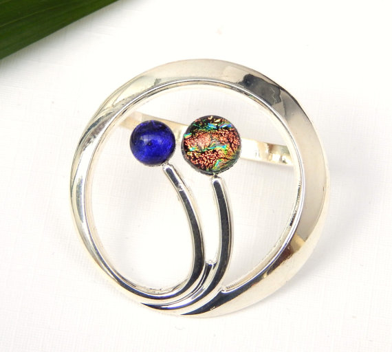 Dichroic Glass Scarf Ring Fused Glass Scarf Clip by TremoughGlass.