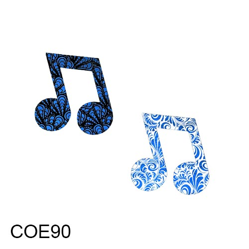 COE90 Fusible Precut Patterned Dichroic Glass Double Eighth Music.