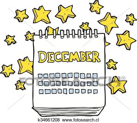 Caricatura, calendario, actuación, mes, de, diciembre Clip Art.