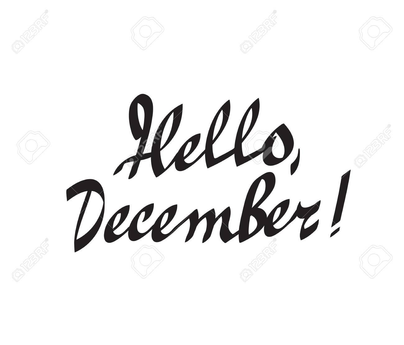Hola, diciembre, mano, dibujado, caligrafía, letras, vector, ilustración.