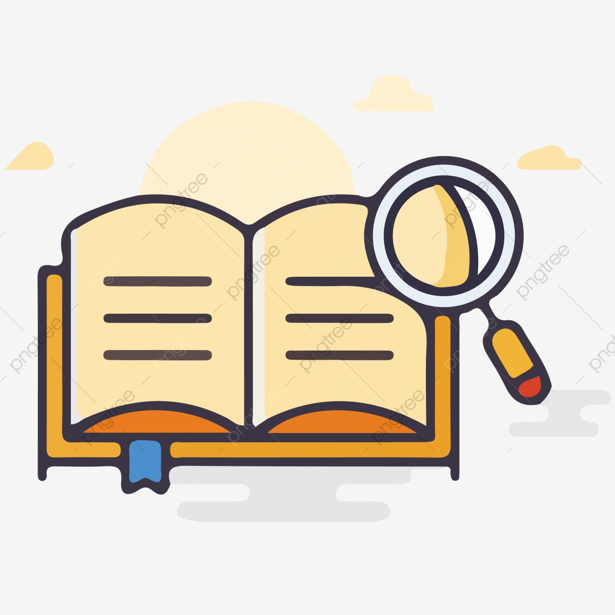 Cartoon Open Book Icon Reading Flipping Through The Dictionary Open.