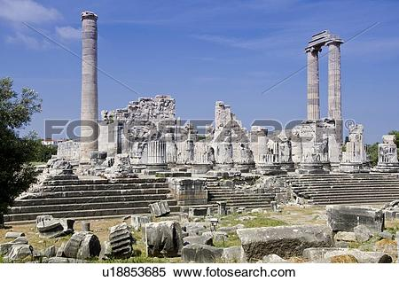 Stock Image of Didyma, an ancient Ionian sanctuary, in modern.