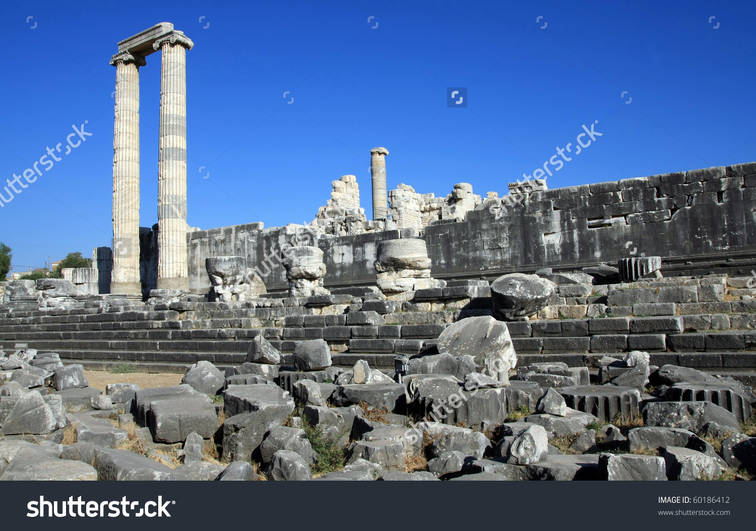 A View Of Temple Of Apollo In Antique City Of Didyma, Aydin Stock.