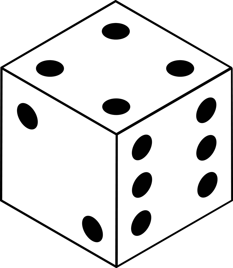 Clip Art Of Numbers On A Die Clipart#1889412.