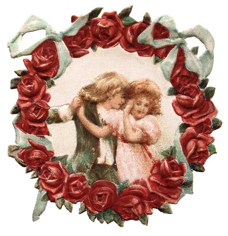 Vintage Victorian Flower Wreath Die Cut Valentine Vintage Fangirl.
