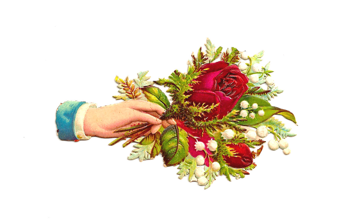 Flower Clip Art Victorian Die Cut Of Hand Whimsy Red Rose Bouquet.