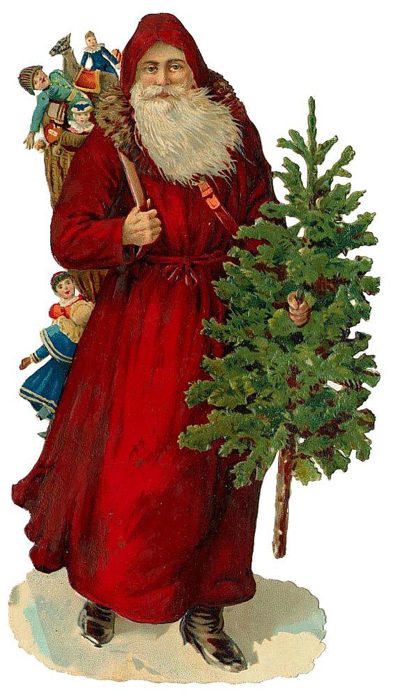 Vintage Victorian Christmas Die Cut Clip Art.