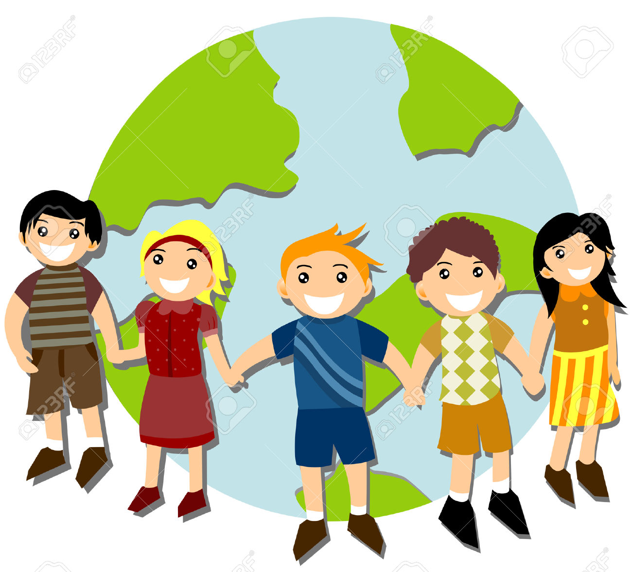 Kinder Rund Um Die Welt Lizenzfrei Nutzbare Vektorgrafiken, Clip.