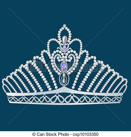 Clipart Vector of corona diadem feminine wedding with pearl.