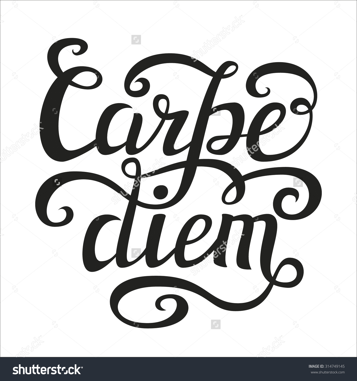 Hand Lettering Typography Posterinspirational Quote Carpe Stock.